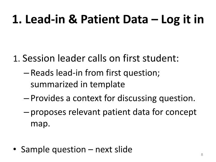 1. Lead-in & Patient