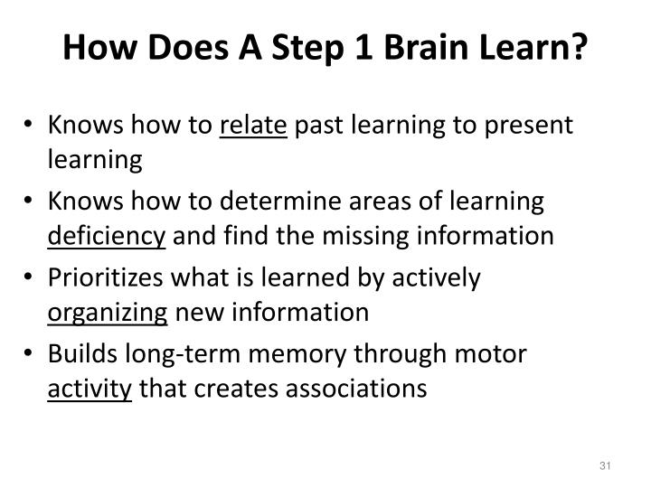 How Does A Step 1 Brain Learn?