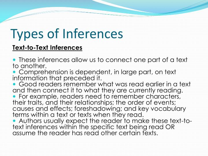 Types of inferences