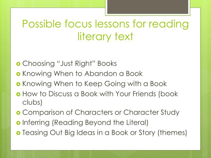 Possible focus lessons for reading literary text