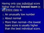 having only one individual score higher than the lowest team in an entire class is