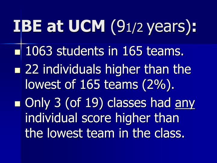 IBE at UCM