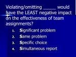 violating omitting would have the least negative impact on the effectiveness of team assignments