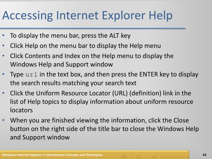 Accessing Internet Explorer Help