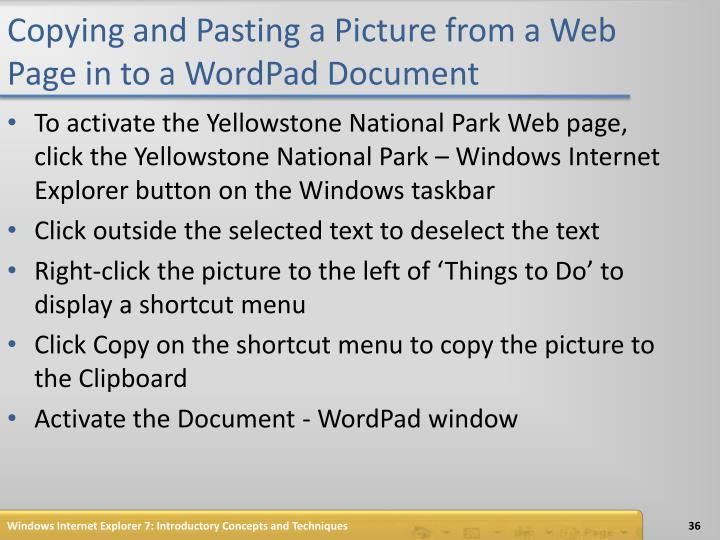 Copying and Pasting a Picture from a Web Page in to a WordPad Document
