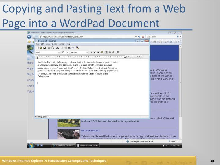 Copying and Pasting Text from a Web Page into a WordPad Document