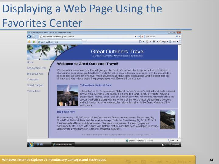 Displaying a Web Page Using the Favorites Center