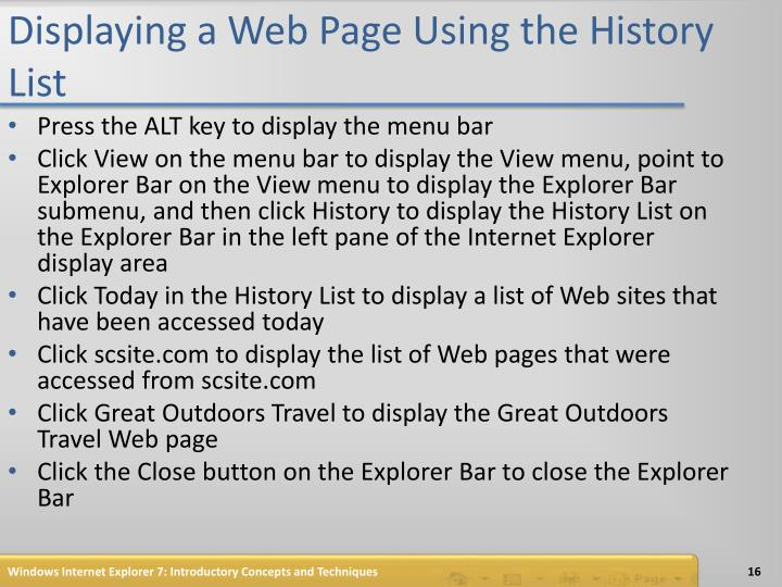 Displaying a Web Page Using the History List