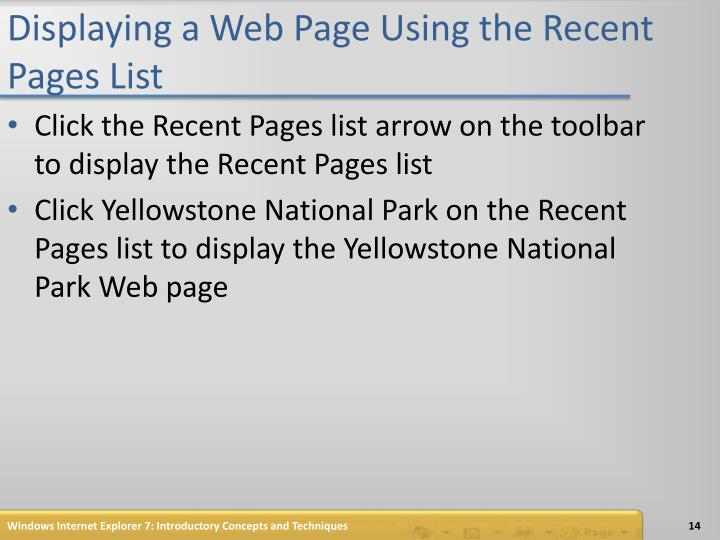 Displaying a Web Page Using the Recent Pages List