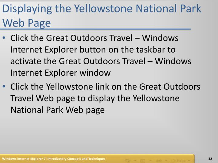 Displaying the Yellowstone National Park Web Page