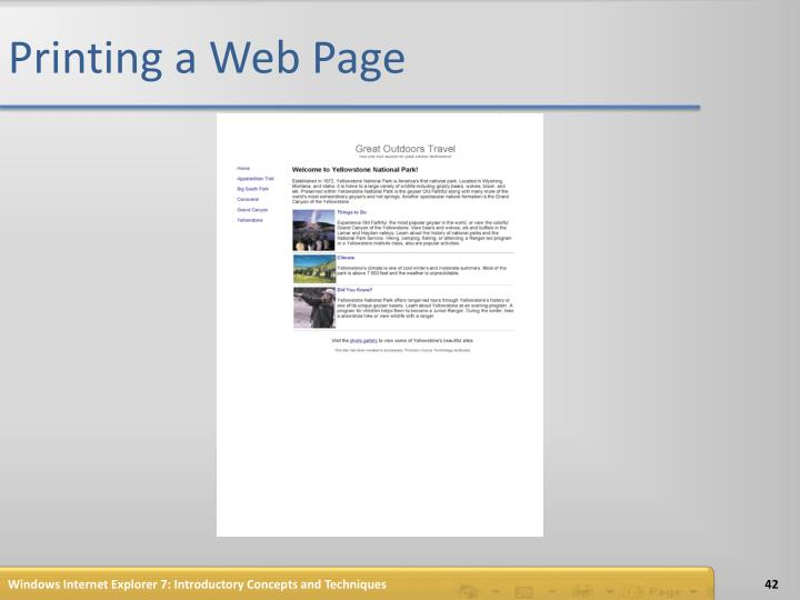 Printing a Web Page
