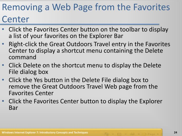 Removing a Web Page from the Favorites Center