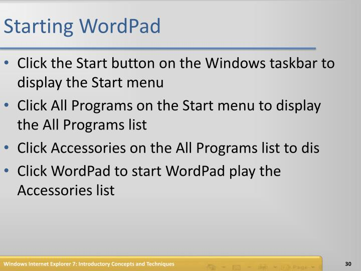 Starting WordPad