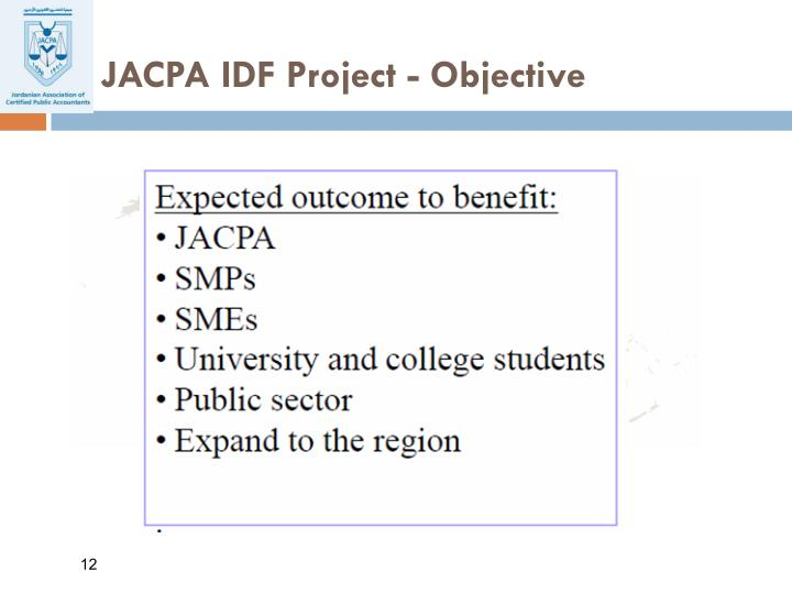 JACPA IDF Project - Objective