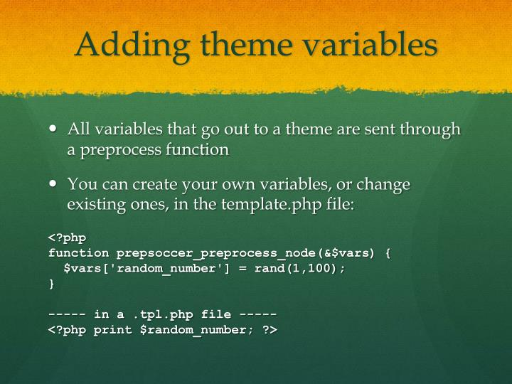 Adding theme variables