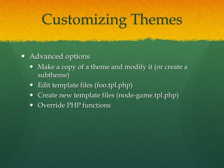 Customizing Themes