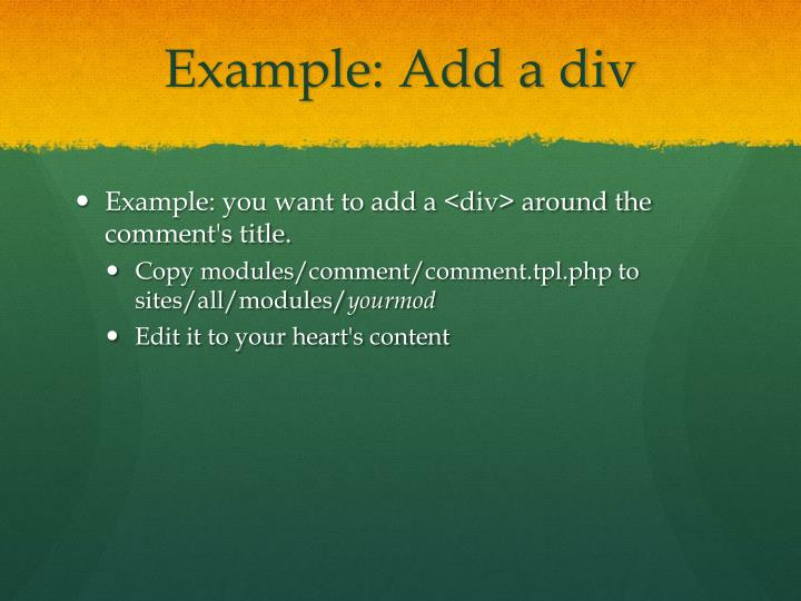Example: Add a div