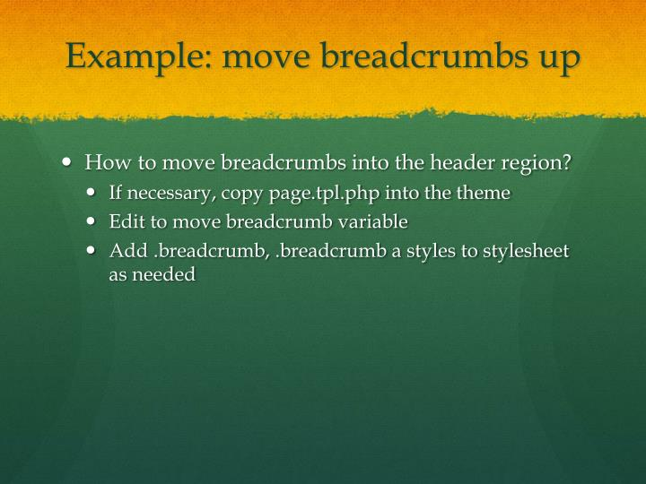 Example: move breadcrumbs up