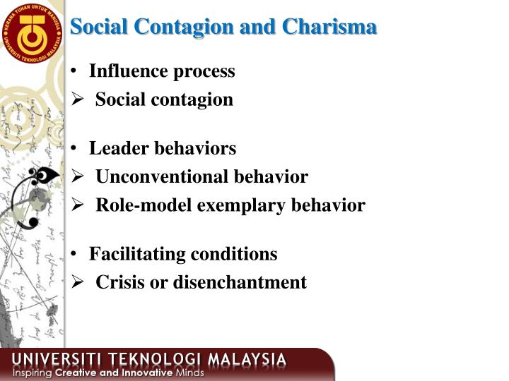 Social Contagion and Charisma
