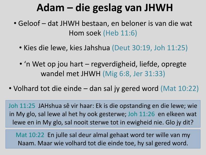Adam – die geslag van JHWH