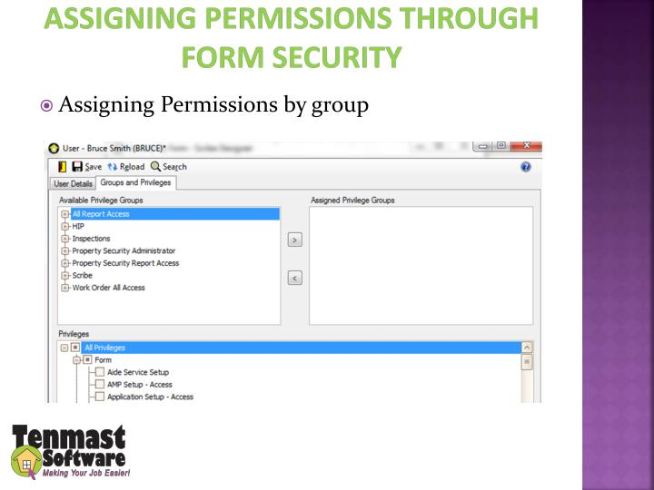 Assigning Permissions through Form Security