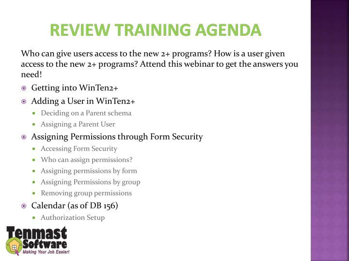 Review Training agenda