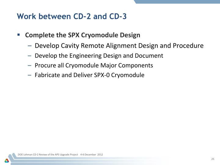 Work between CD-2 and CD-3