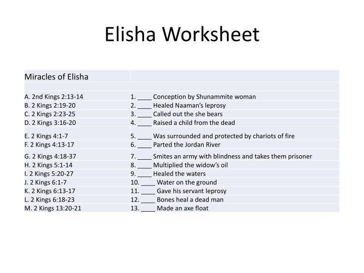 Elisha Worksheet