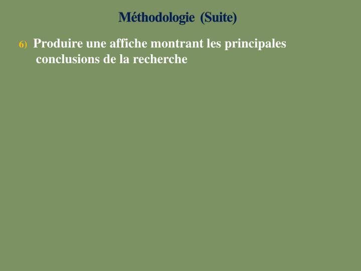 Méthodologie (Suite)