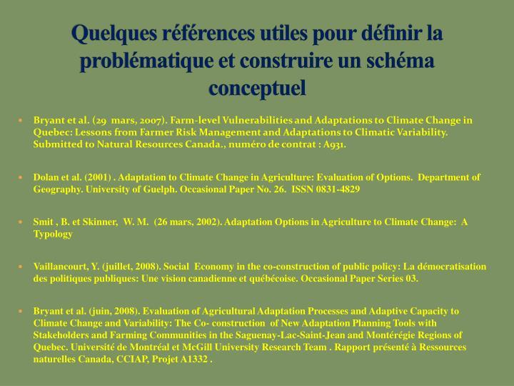 Quelques références utiles pour définir la problématique et construire un schéma conceptuel
