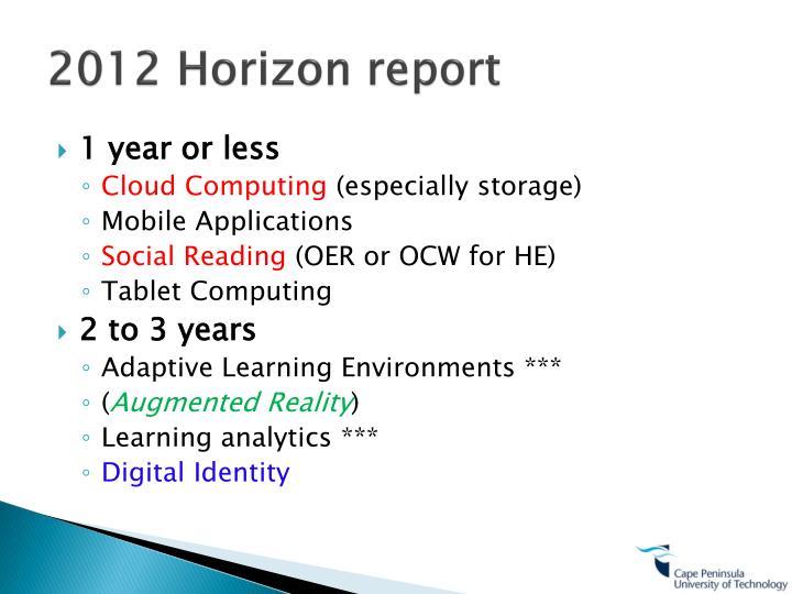 2012 Horizon report