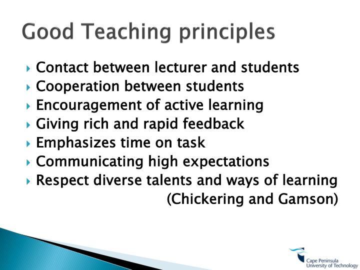 Good Teaching principles