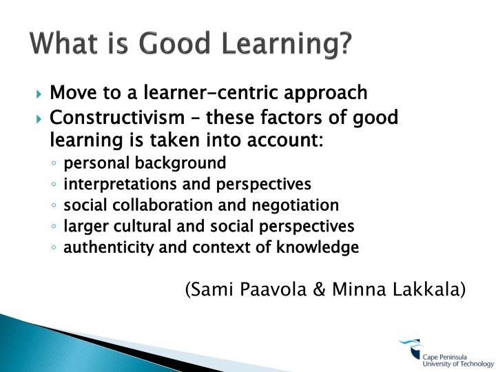 What is Good Learning?