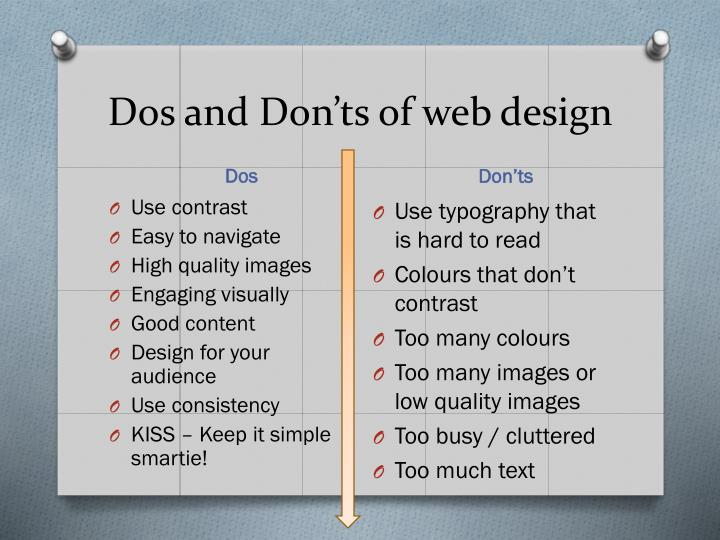 Dos and Don'ts of web design