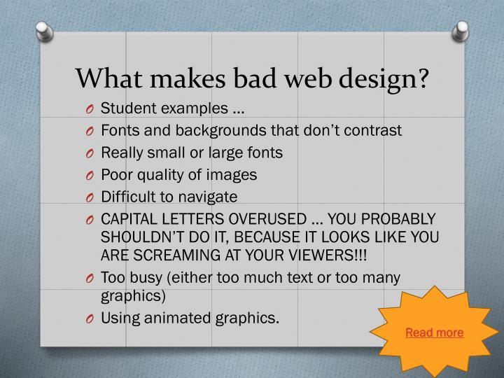 What makes bad web design?
