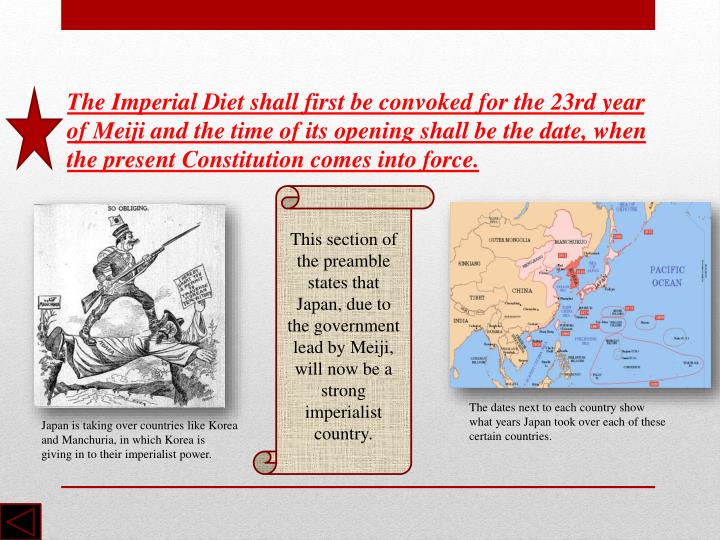 The Imperial Diet shall first be convoked for the 23rd year of Meiji and the time of its opening shall be the date, when the present Constitution comes into force.