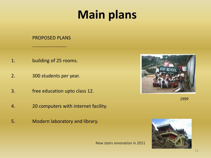 Main plans