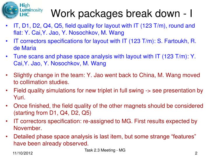 Work packages break down - I