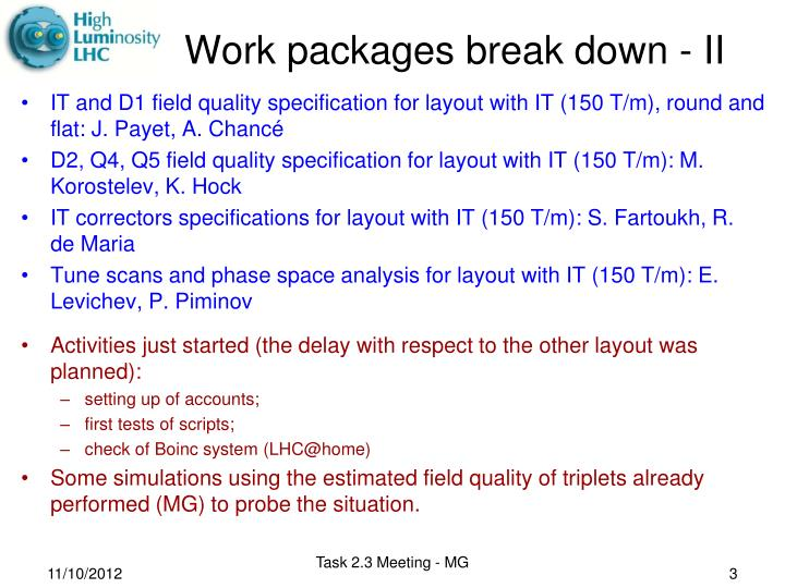 Work packages break down ii