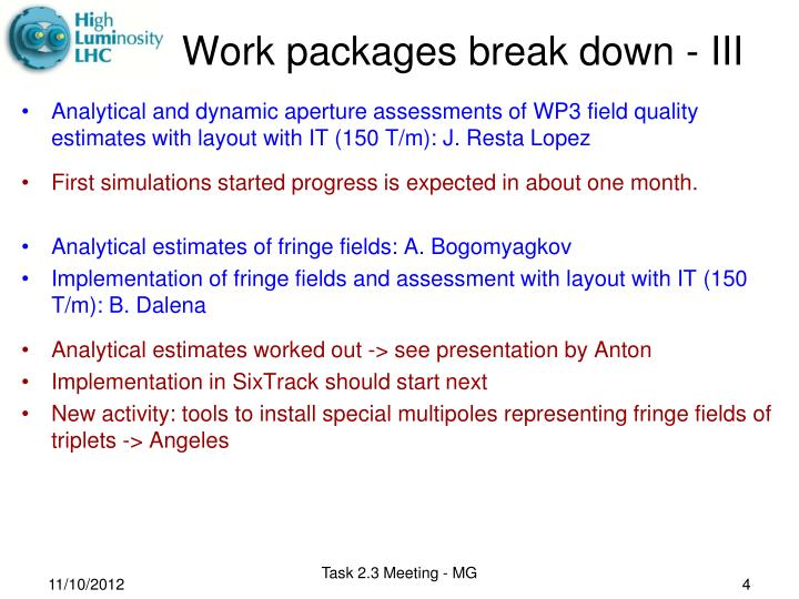 Work packages break down -