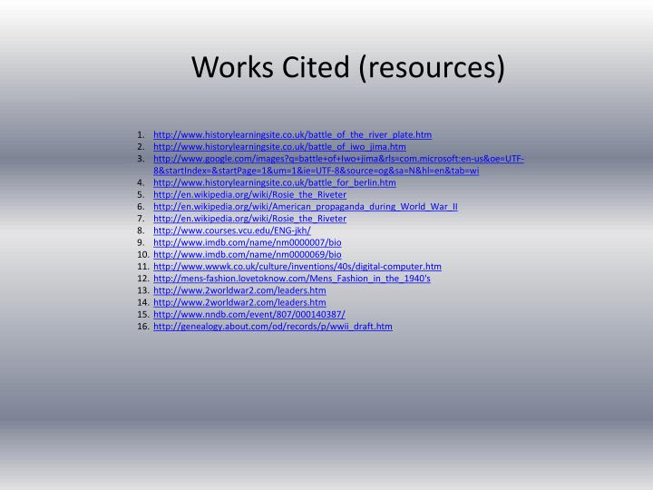 Works Cited (resources)