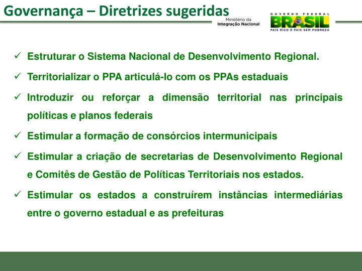 Estruturar o Sistema Nacional de Desenvolvimento Regional.