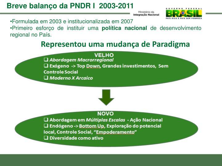 Breve balanço da PNDR I  2003-2011