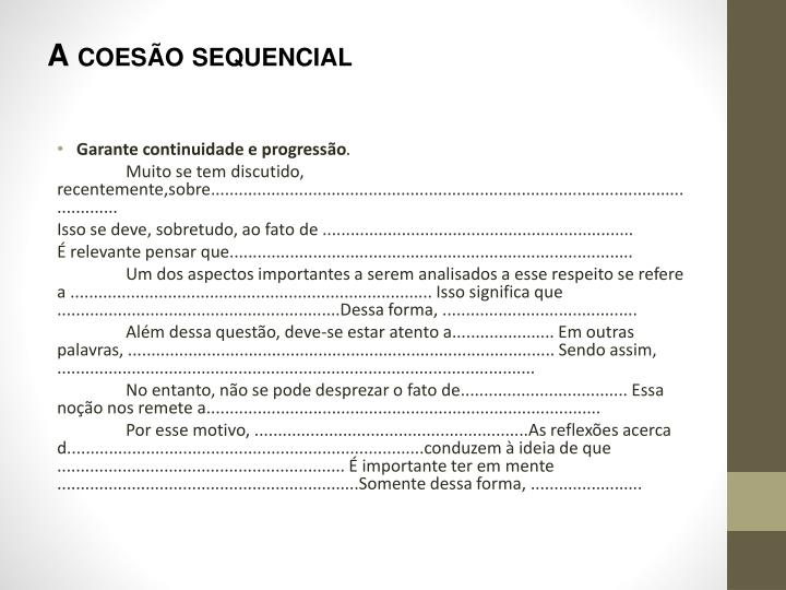 A coesão sequencial
