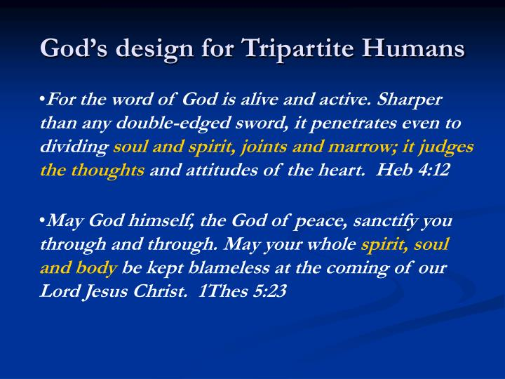 God's design for Tripartite Humans