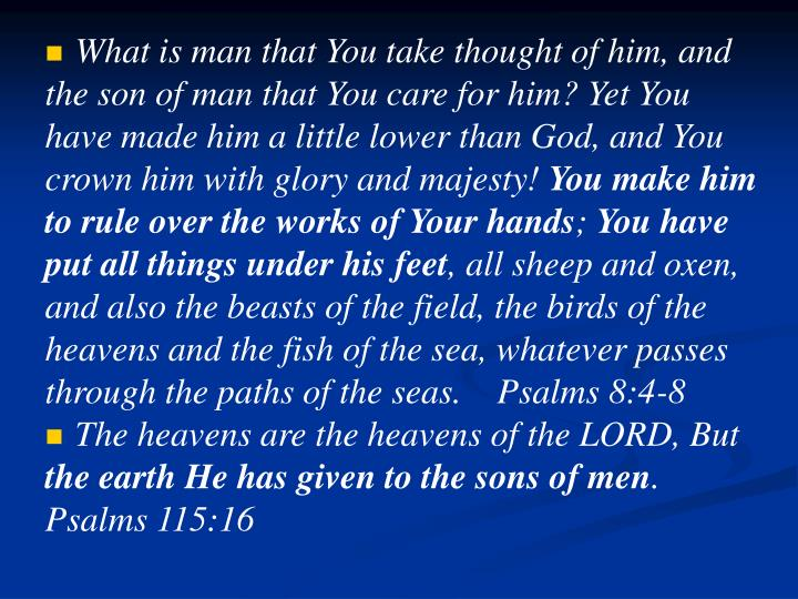 What is man that You take thought of him, and the son of man that You care for him? Yet You have made him a little lower than God, and You crown him with glory and majesty!