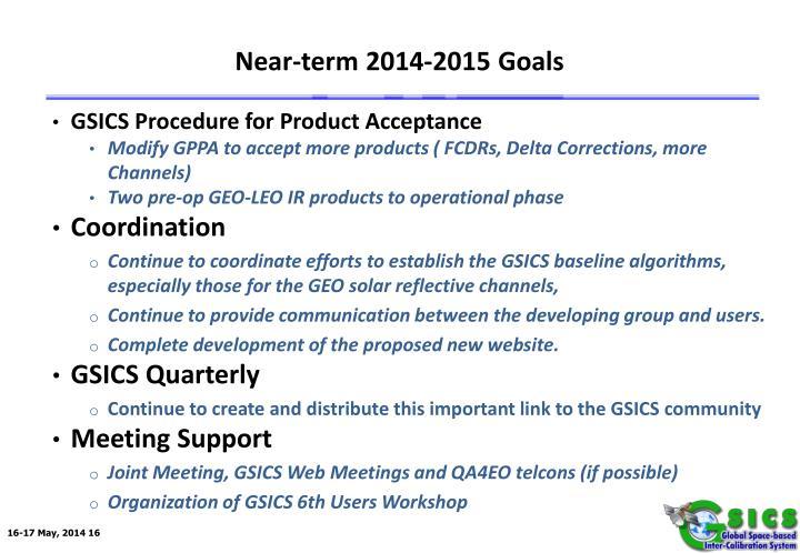Near-term 2014-2015 Goals