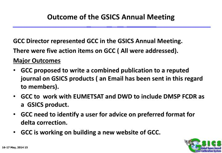 Outcome of the GSICS Annual Meeting