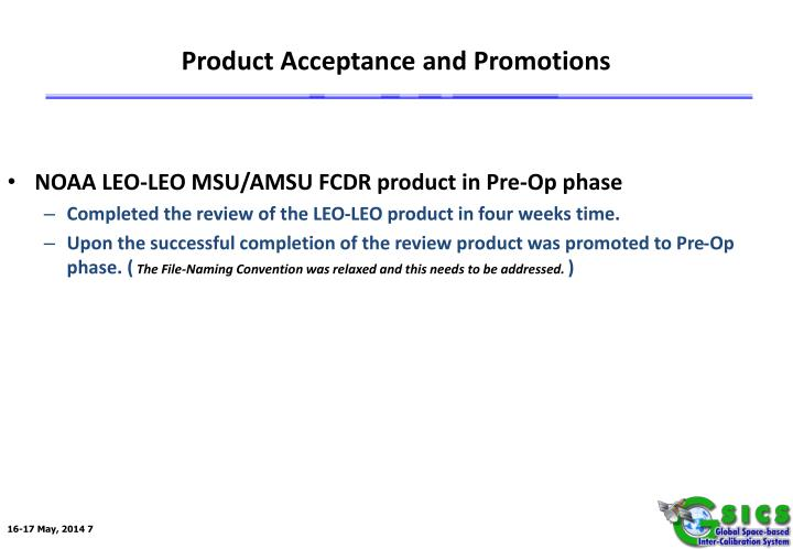 Product Acceptance and Promotions