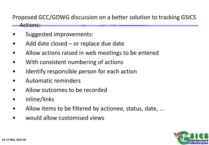 Proposed GCC/GDWG discussion on a better solution to tracking GSICS Actions:
